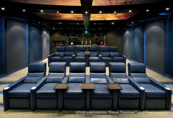 Digital projector, custom seating, and animated ceiling in high-end home cinema.