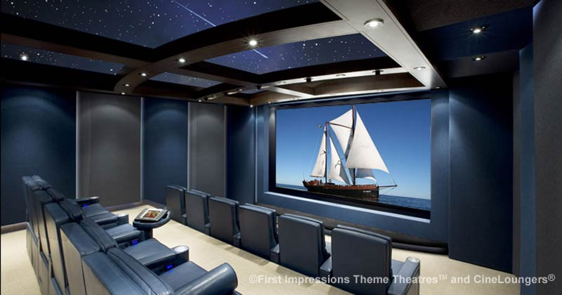 Screen and digital controls in luxury home personal cinema home theater