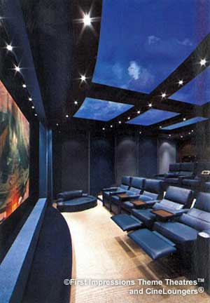 Brilliant screen and custom theater seating, acoustic sidewall for custom high-power home theater.